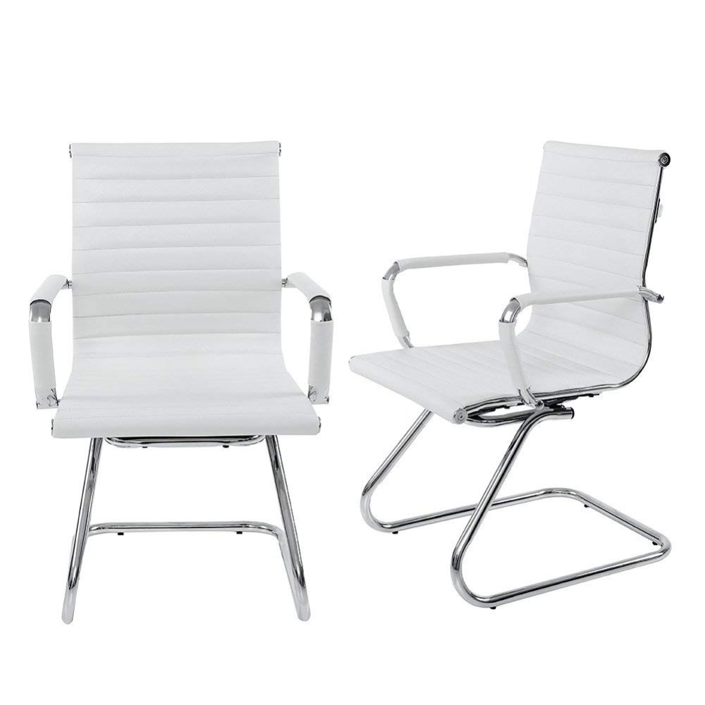Wahson Heavy Duty Leather Office Guest Chair Mid Back Sled Reception Conference Room Chairs Set Of 2 White Office Chairs Aliexpress