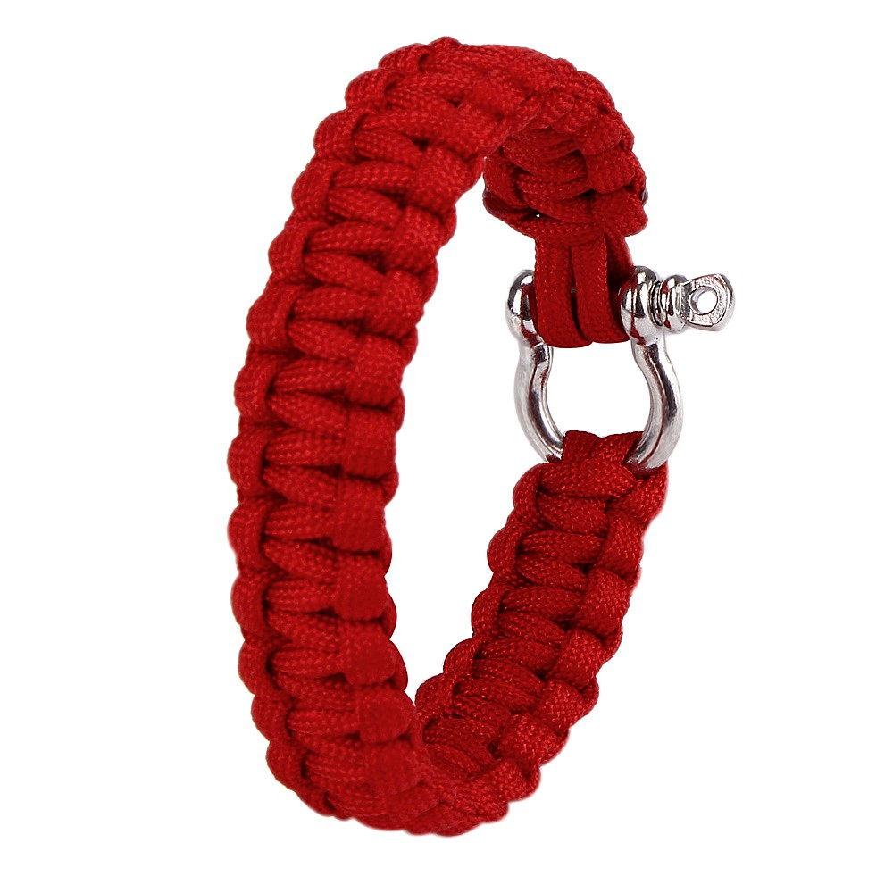 Outdoor Paracord Survival Bracelet With Zinc Alloy Bow Shackle Rope Camping Men Women Rope Charm Bracelets