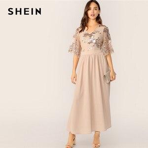 Image 4 - فستان نسائي من SHEIN بتصميم متباين مع رقبة على شكل v وأكمام شبكية مُزين بالترتر موضة 2019 بمشمش للربيع والصيف براقة وخصر عالي