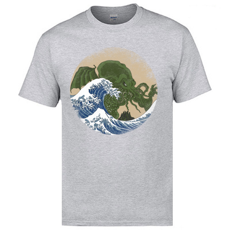 Wave Hokusai Cthulhu T shirts Hip Hop Street Tshirts For Men New Arrival Fashion Men 39 s Casual Tops Tees On Sale Funny Tshirts in T Shirts from Men 39 s Clothing