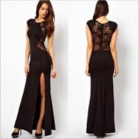 2015 New Fashion High Quality Women Plus Size Black Lace Evening Party Long Spring Bodycon Split