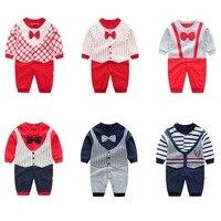 Baby Jumpsuit Herfst Kleding Pasgeboren Katoenen Kleding Baby Lange Mouwen Rompertjes Baby Jongens Vlinderdas Klimmen Roupa Pyjama Uitloper 2