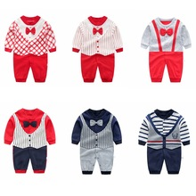 Infant Long Sleeved Rompers Baby Boys Bow Tie