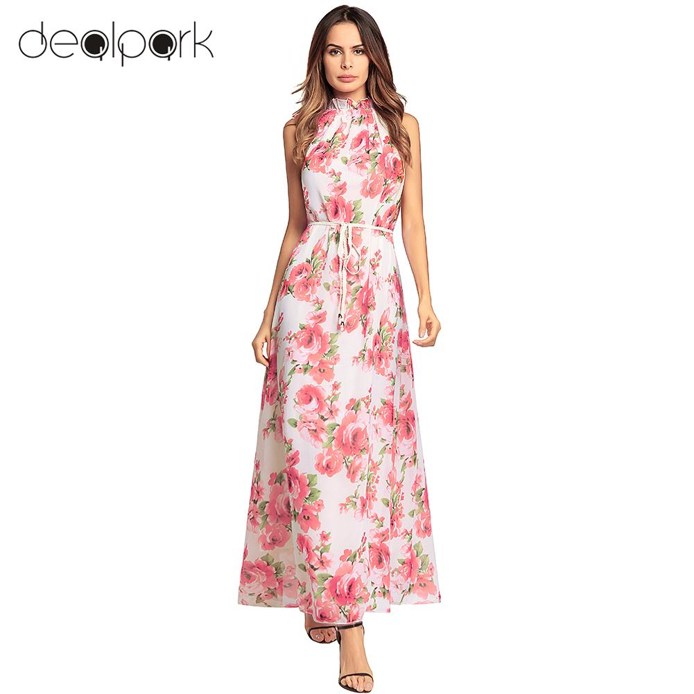 46b079e10b1 Women Chiffon Maxi Dress Halter Floral Print Bohemian Dress Sleeveless High  Waist Holiday Long Gown Elegant Ladies Party Dresses-in Dresses from Women s  ...