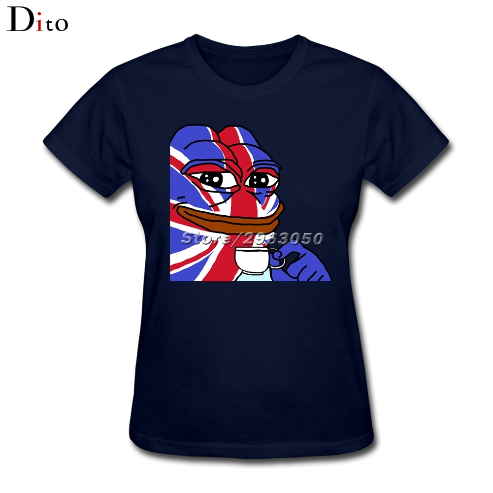 British Flag Pepe The Frog Tees Shirt For Women Designer Short Sleeve Custom 3XL Party T-shirts