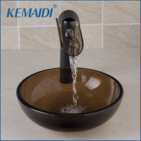 New Hand Paint Bowl Sinks Vessel Basins Tempered Glass Sink With Waterfall Faucet Taps Water Drain