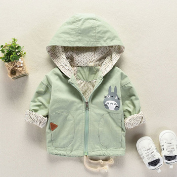 2019 Spring autumn Baby girl clothes Totoro boys jacket Hooded baby coat cartoon Children coat Toddler 3-24M bebes kids clothing