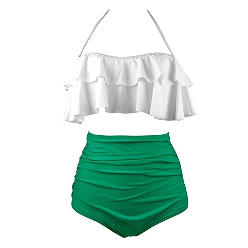 Sexy Women High Waist Swimsuit Halter Bikinis Set Swimwear Ruffle Bandeau Bottom Bathing Suit YS-BUY 5