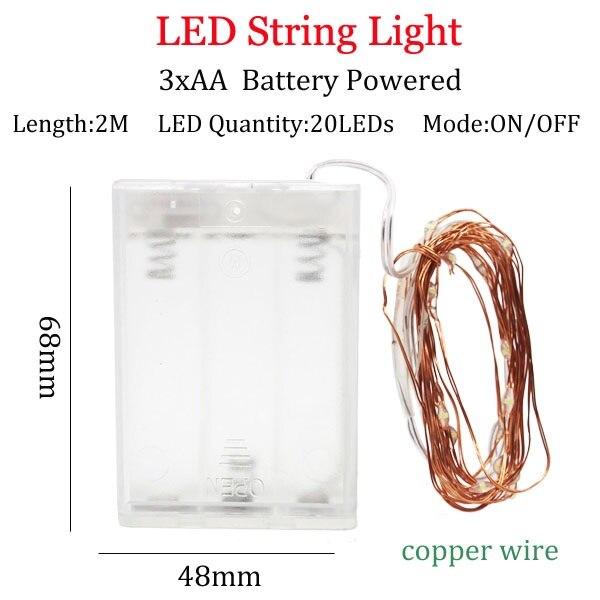Светодиодный светильник-гирлянда s 10 м 5 м 2 м, серебряная гирлянда, украшение для дома, Рождества, свадьбы, вечеринки, питание от батареи 5 В, USB, сказочный светильник - Испускаемый цвет: 2m 3A  copperBattery