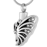 MJD9215Butterfly Urn Necklace Memorial Jewelry for Ashes Keepsake Cremation Pendant for Love