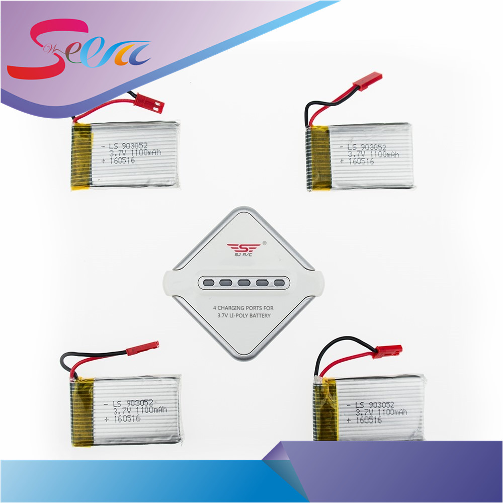 3.7V 1100mAh Lipo Battery 4 pcs with Charger Set for JJRC H11C H11WH H11D RC Quadcopter Parts 5pcs jjrc h11d h11c hq898 quadcopter drone rc lipo battery 3 7v 1100mah and charger plug cable