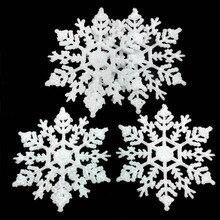 12Pcs 10cm Gold Powder Snowflake for Xmas Charming White Christmas Tree Decor Xmas Party Holiday Christmas Ornaments Home Decor