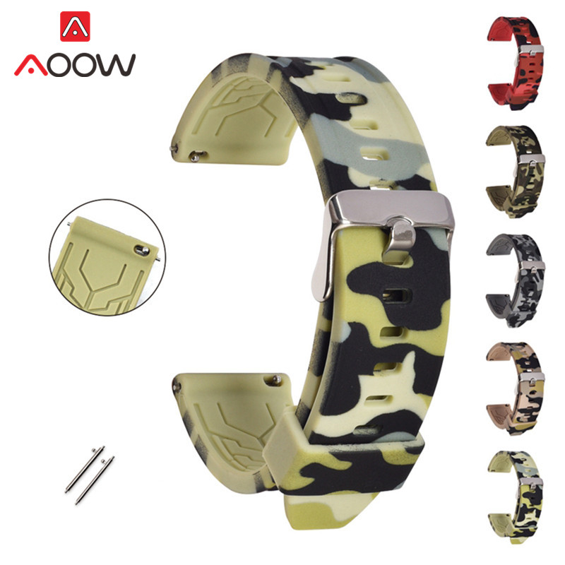 Soft Silicone Watchband 18mm 20mm 22mm 24mm Quick Release Bracelet Band Strap For Samsung Galaxy Watch 42mm 46mm Gear S2 S3
