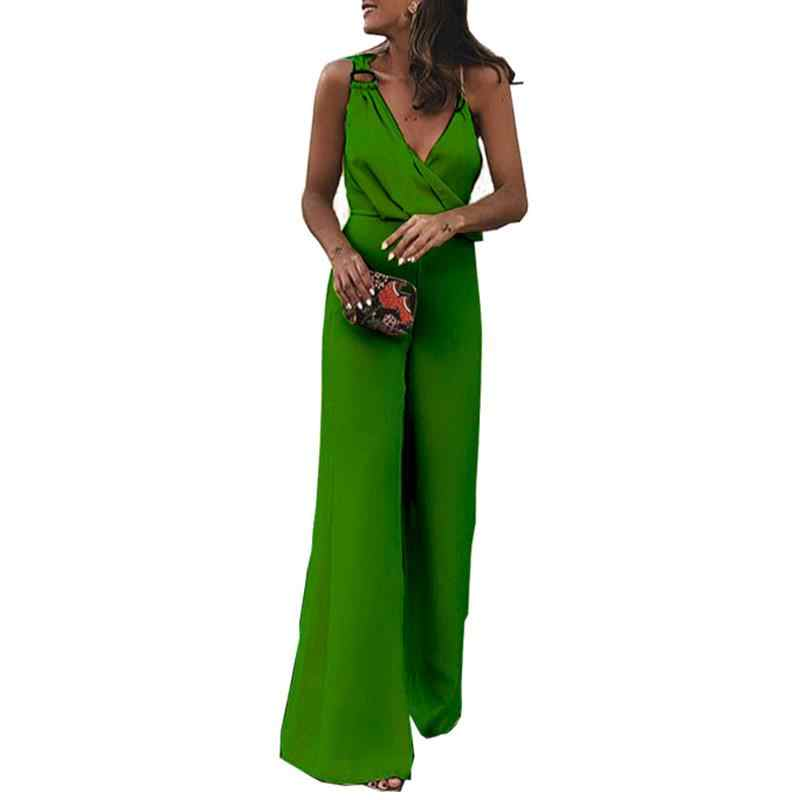 Sexy Off Shoulder Party Straps Jumpsuit Women Wide Leg Long Pants Solid  Rompers V-Neck 7f10dbae5bf0