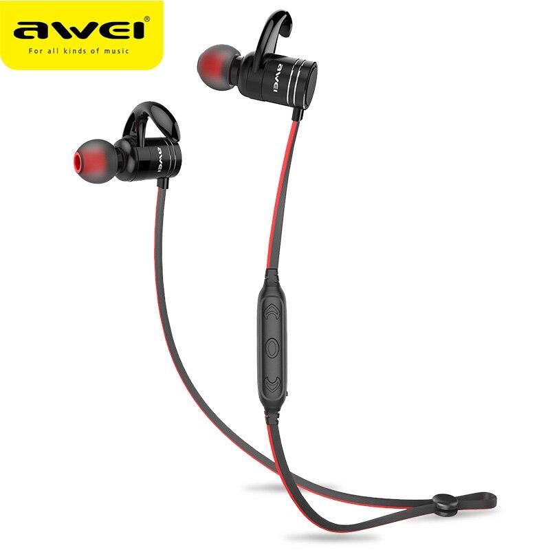 AWEI AK7 Drahtlose sport Kopfhörer Bluetooth Kopfhörer Für Telefon magnet Cordless Headset Ohrhörer mit mic 10 h musik