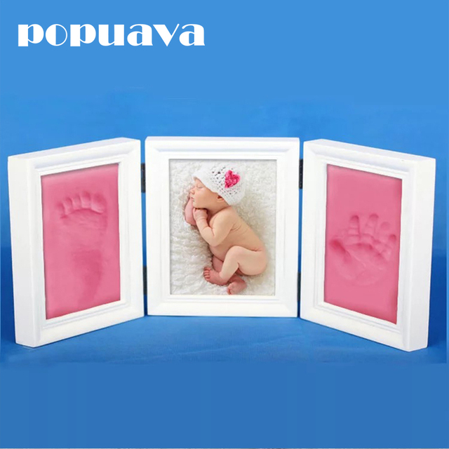 Cute baby picture frame children DIY hand print or footprint soft ...