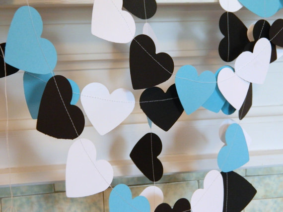 breakfast at tiffanys inspired bridal shower decor 10ft aqua black white heart garland wedding decorations in banners streamers confetti from home