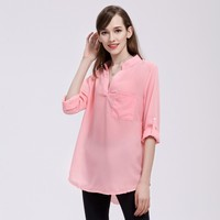 9 Color Womens Blouses And Tops Plus Size 5xl Fashion Shirt V Neck Loose Long Sleeve