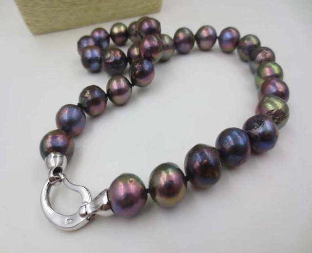 100% a Venda de Imagem completa vários estilo Big 12-14mm black pearl necklace Kasumi