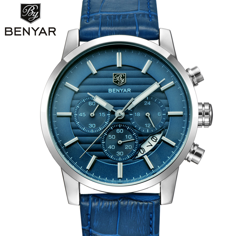 BENYAR Brand Mens Watches Top Brand Luxury Business Leather Wrist Watch Male Sport Chronograph Quartz Watch Relogio Masculino наушники promate glitzy красные
