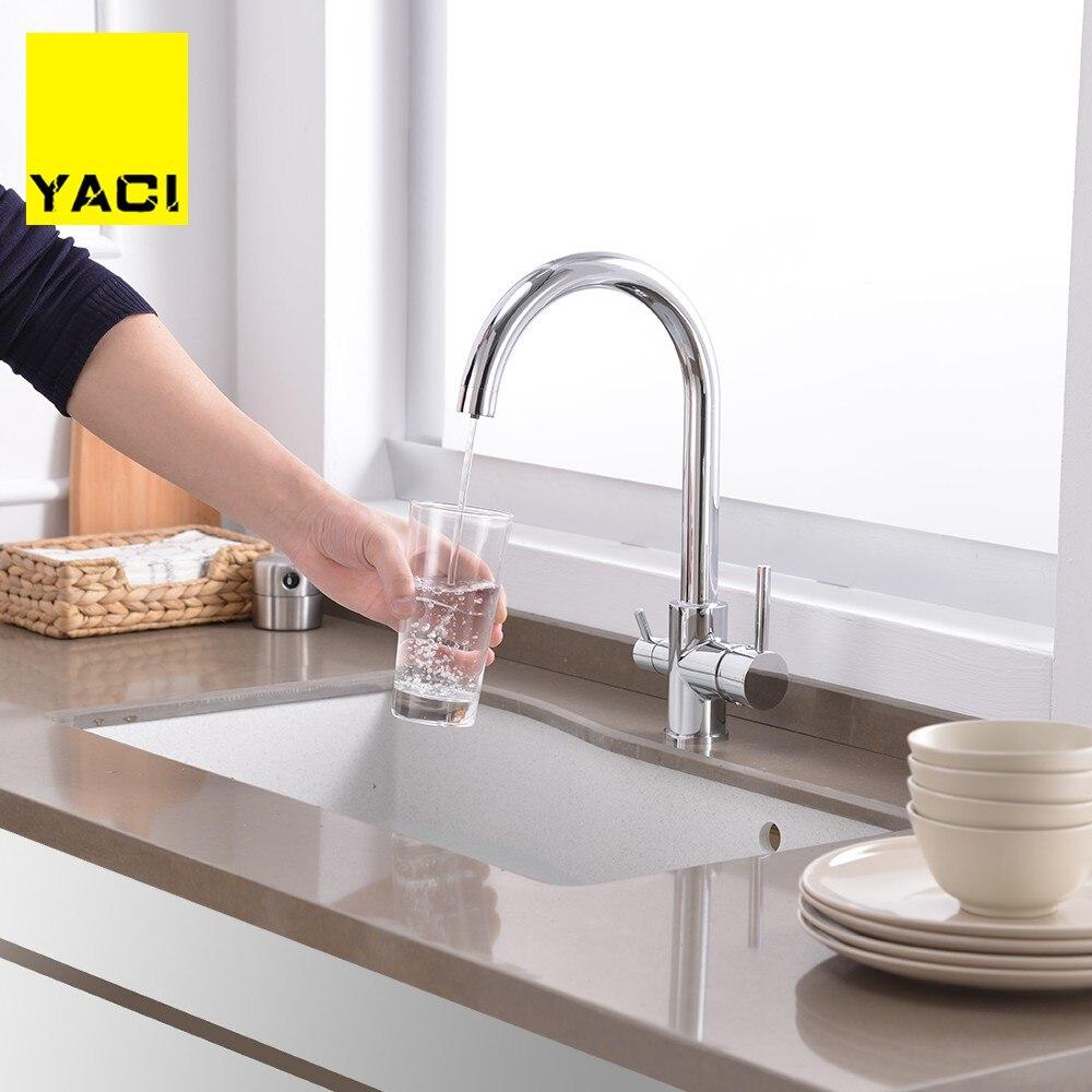 YACI Filtre Robinets De Cuisine Pont Monté Mitigeur 360 Rotation avec Purification De L'eau Caractéristiques Mitigeur Grue Pour La Cuisine