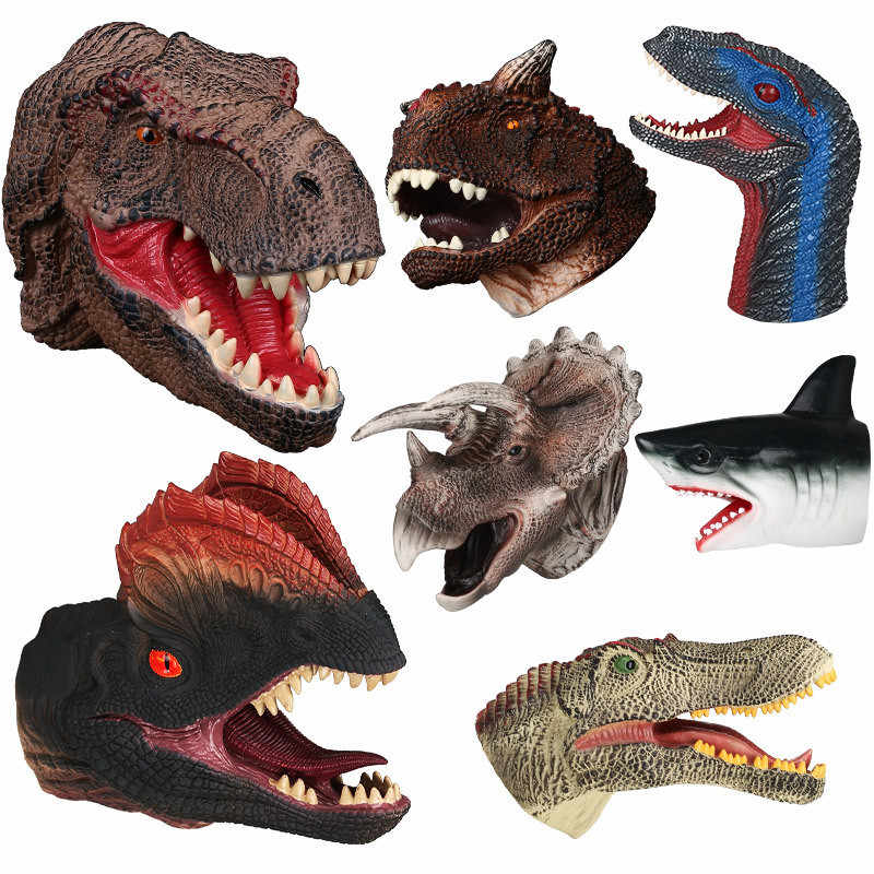 Animal Head Puppet Hand Puppet of Soft Vinyl Rubber Dinosaur Gloves Novetly Toys Figure For Children Gift Model