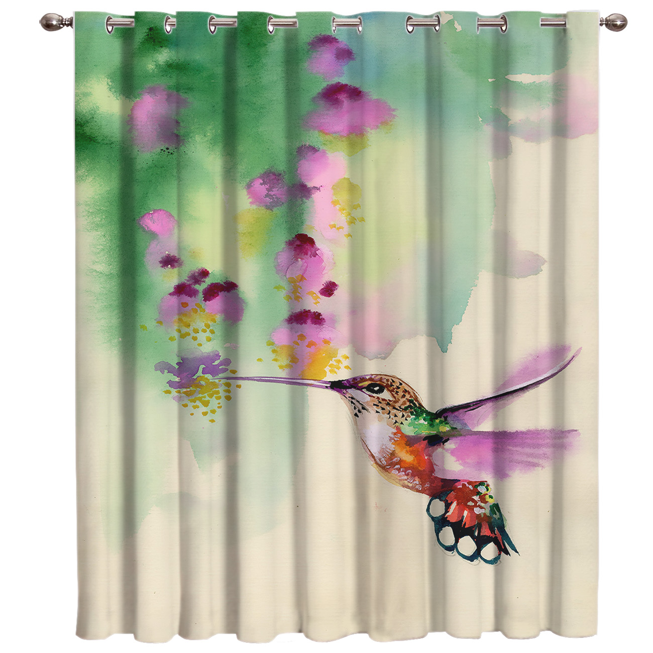 Watercolor Hummingbirds And Flowers Living Room Bathroom Bedroom Kitchen Indoor Fabric Decor Kids Curtain Panels With Grommets