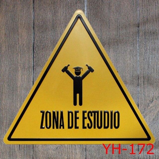 ZONA DE ESTUDIO Triangle Shape Tin signs IRON Wall Sticker Metal Tin ...