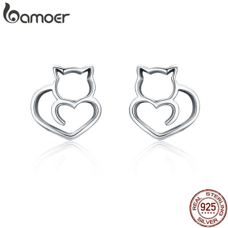 BAMOER Hot Sale Authentic 925 Sterling Silver Cute Cat Small Stud Earrings for Women Fashion Sterling Silver Jewelry SCE271BAMOER Hot Sale Authentic 925 Sterling Silver Cute Cat Small Stud Earrings for Women Fashion Sterling Silver Jewelry SCE271