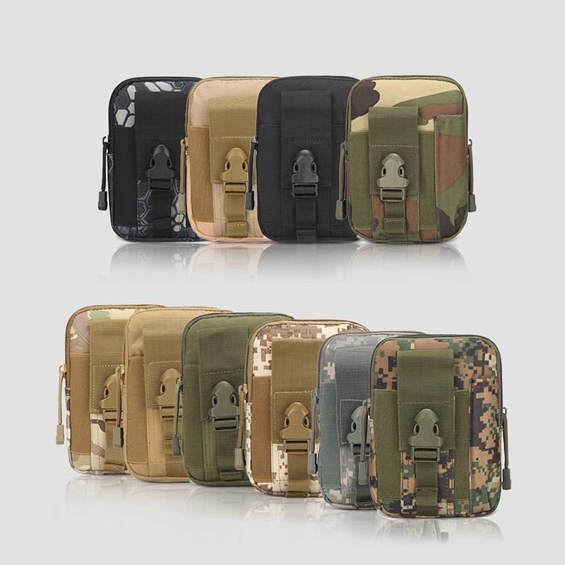 Camouflage Canvas Camping Climbing Bag Tactical Military Molle Hip Waist Belt Wallet Pouch Purse Phone Case for iPhone Samsung tactical universal holster military molle hip waist belt bag wallet pouch purse phone case with zipper for iphone