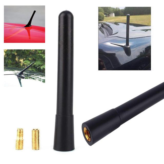 Car Antenna Auto Short Stubby Antenna AM/FM Radio Aerial Mast Carbon Fiber Aluminum With Screws Type Universal Car Accessories