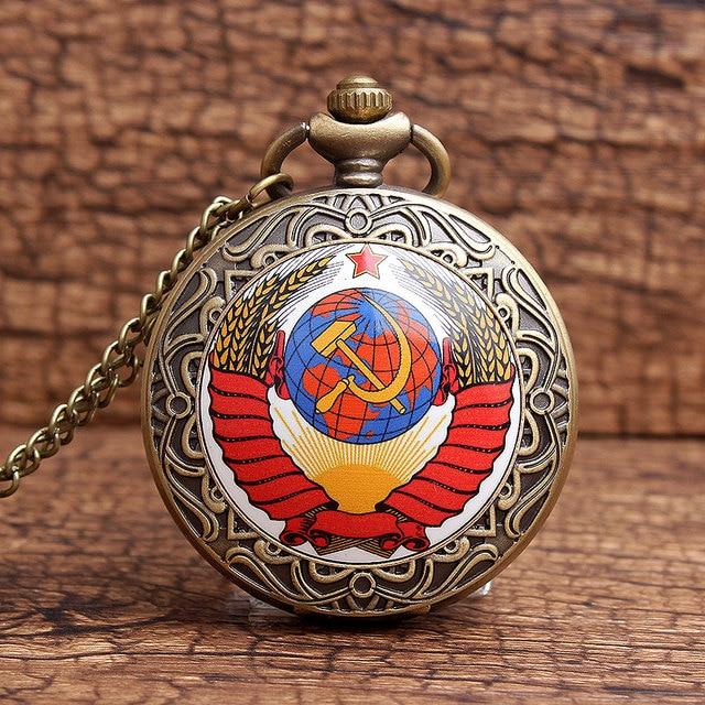 2016 Vintage Bronze New Soviet Sickle Hammer Style Quartz Pocket Watch Men Women