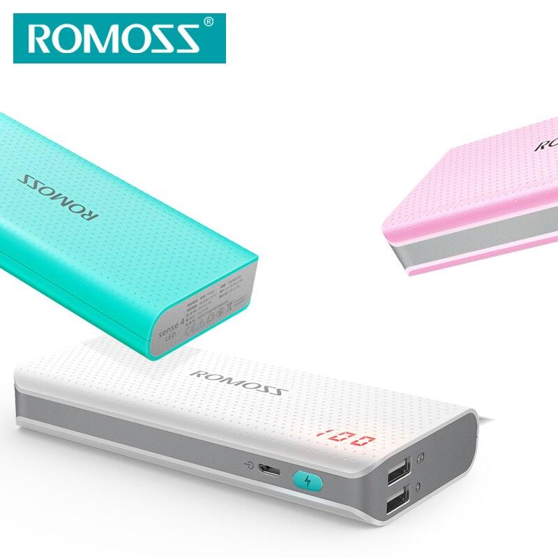 imágenes para (Liquidación de Ventas de Regalo cable USB micro) ROMOSS Sense4 LED Banco de la Energía 10400 mAh Portátil Batería Externa del Cargador Dual USB de Salida