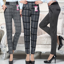 Large size 2018 autumn Women grid Pants Warm sweat Plus moth