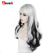 AOSI парик длинные волнистые Черный Белый Ombre синтетические парики для женщин принцесса волосы Хэллоуин Косплей Костюм термостойкие
