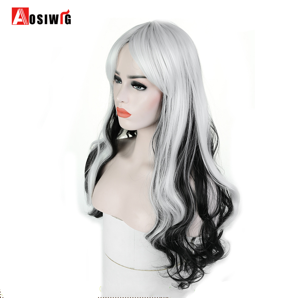 AOSI WIG Long Wavy Black White Ombre Synthetic Wigs For Women Princess Hair Halloween Cosplay Costume Heat Resistant