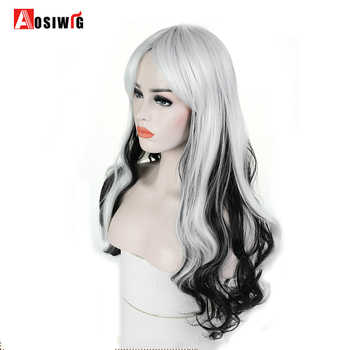 AOSI WIG Long Wavy Black White Ombre Synthetic Wigs for Women Princess Hair Halloween Cosplay Costume Heat Resistant - DISCOUNT ITEM  32% OFF All Category
