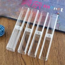 1000 pçs/lote Alta Qualidade caixa de Lápis Caso claro De cristal Transparente Fonte Roller Ball Caneta Esferográfica Presentes 16*2.5*2.5 cm