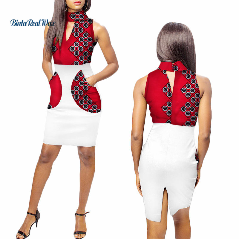 Fashion African Print Dresses For Women Ankara Turtleneck Patchwork Pockets Dress Party Bazin Riche African Women Clothing WY100