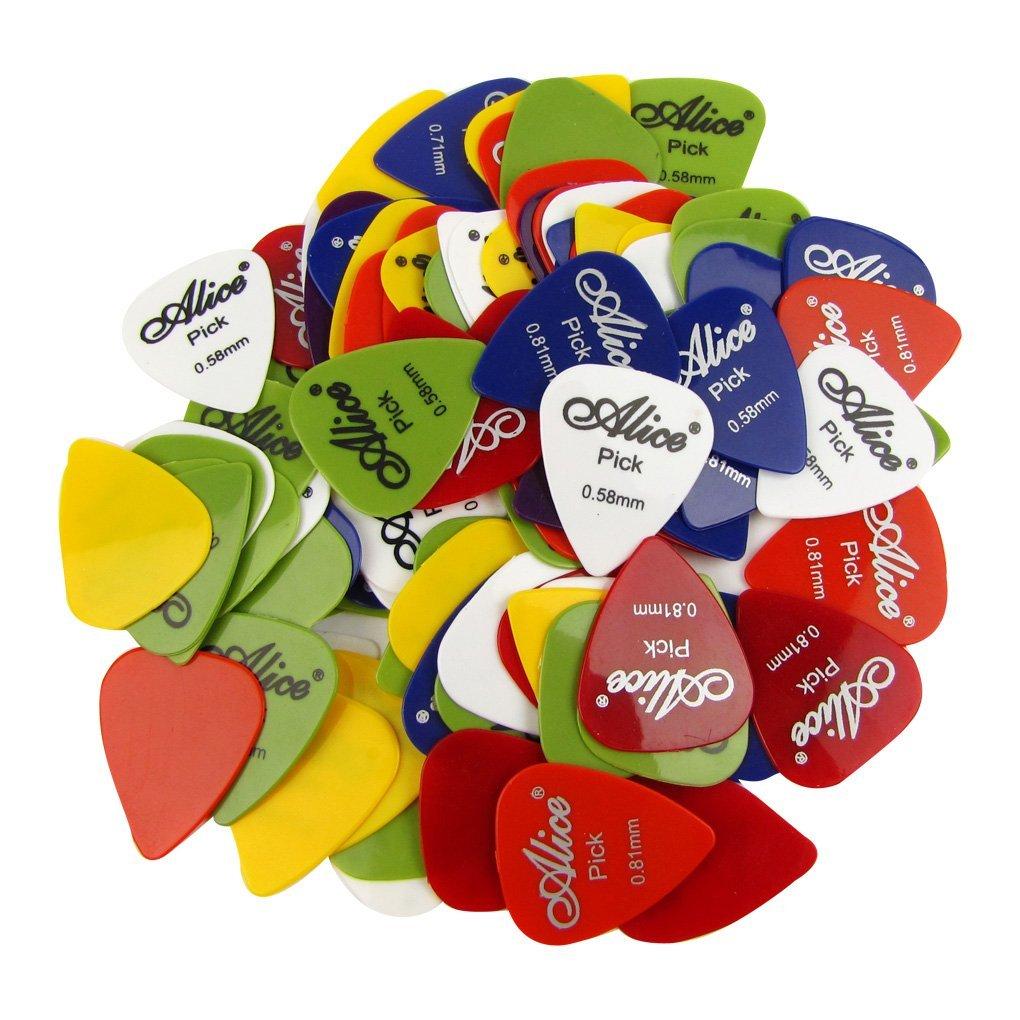 100 Smooth ABS Guitar Picks 0.58-0.81mm Mix Alice 100P alice plastic guitar picks 12 pack