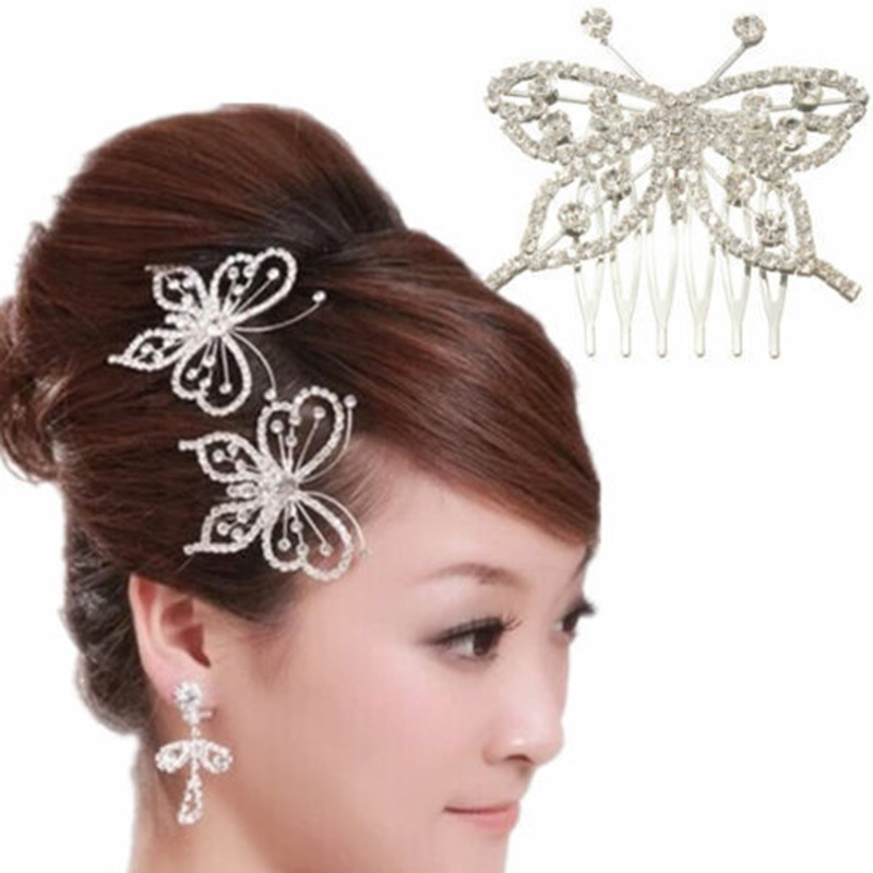 1pc white butterfly rhinestone beads hair clip pin for wedding bridal bridesmaid newchina
