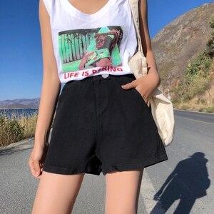 Image 5 - Женские джинсовые шорты с высокой эластичной талией, черные, синие, белые, розовые джинсовые шорты с широкими штанинами в уличном стиле, лето 2020