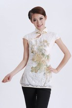 Free Shipping White Chinese Female Lace Blouse Embroidery Shirt Tops Phenix Totem Pattern Tang Suit Size S M L XL XXL J011-A