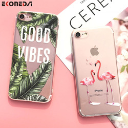 EKONEDA Silicone Case For iPhone 7 Case iPhone 7 Plus Leaves Flower Flamingo Lips Cover For iPhone7 Plus 8 XS Max XR 6s 5S Case 1