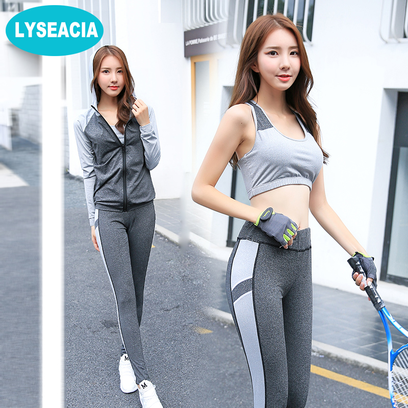 LYSEACIA Breathable Sport suit Women Fitness suit Yoga bra Long sleeeve Hoodies Running Yoga t shirt Sports Leggings Sportswear women s dri fit push up yoga running sports bra