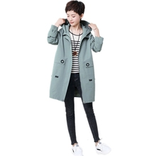 2019 Spring autumn long trench coat women fashion ladies hooded outerwear loose plus size 4xl female overcoat tops floral trench coat women autumn and winter fashion runway plus size vintage royal embroidery lady woolen overcoat female m 4xl