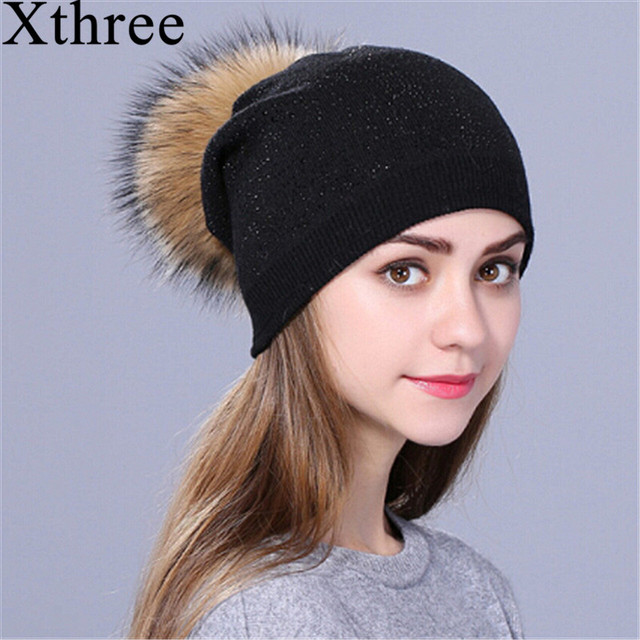 7da126de Xthree new Rhinestone Winter hat for women girl Warm Wool Knitted Beanie  Skullie Real Fur Pom Gorro Female Cap