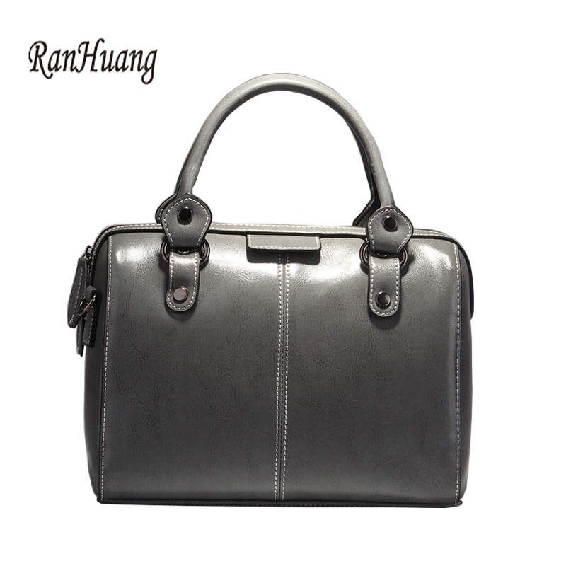 цены RanHuang Brand High Quality Women Split Leather Handbags Pillow Boston Bag 2017 Women's Luxury Handbags Fashion Shoulder Bags