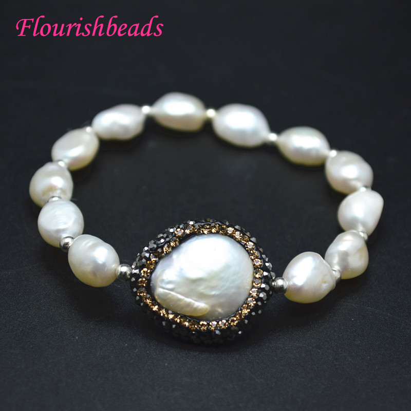 Paved Cz And Abalone Shell Metal Round Coin Evil Eye Charm Natural Fresh Water Pearl Beads Elastic Line Bracelets Party Jewelry Jewelry & Accessories
