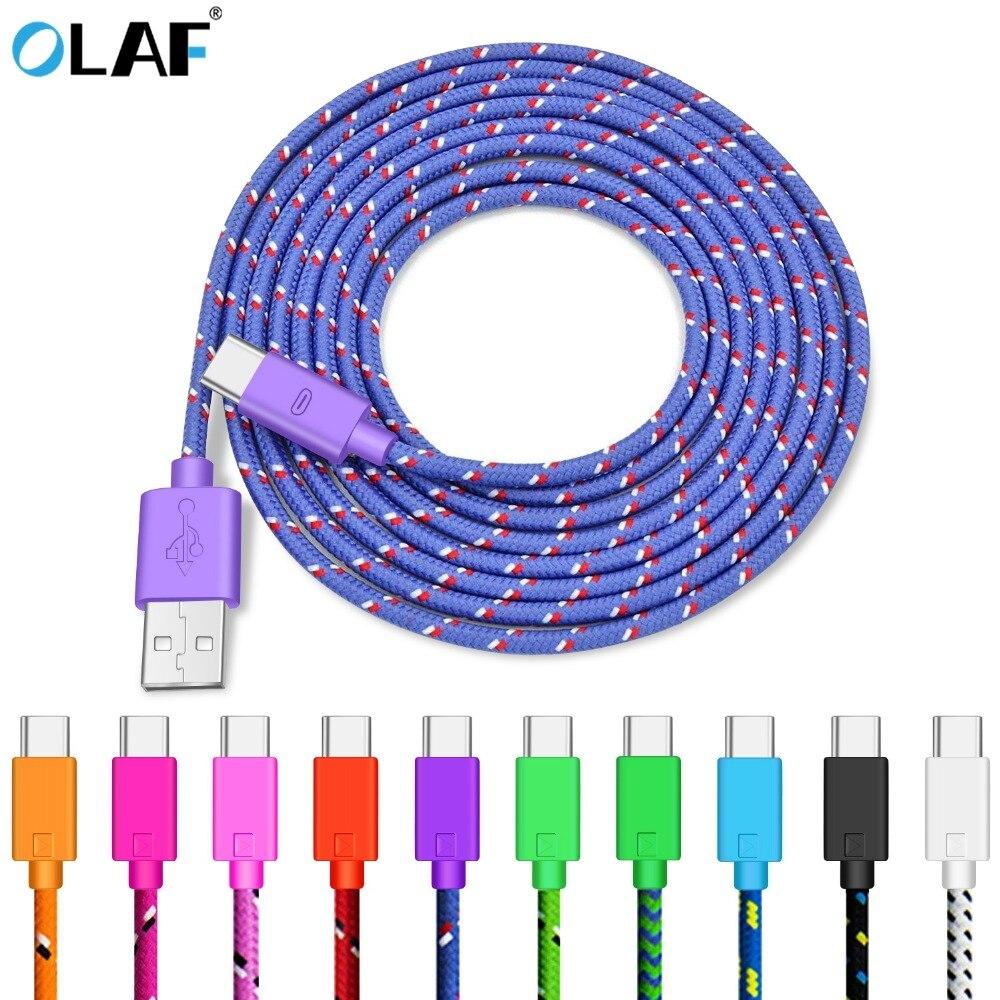 Cabo usb tipo c olaf para celulares, fio para carregamento rápido e dados para samsung galaxy s10 9 huawei mate 20 pro cabo do carregador de telefone USB-C